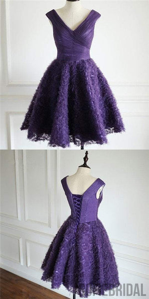 Purple V-neck Tulle Homecoming Dresses, Special Design For 2017 Homecoming, SF0089