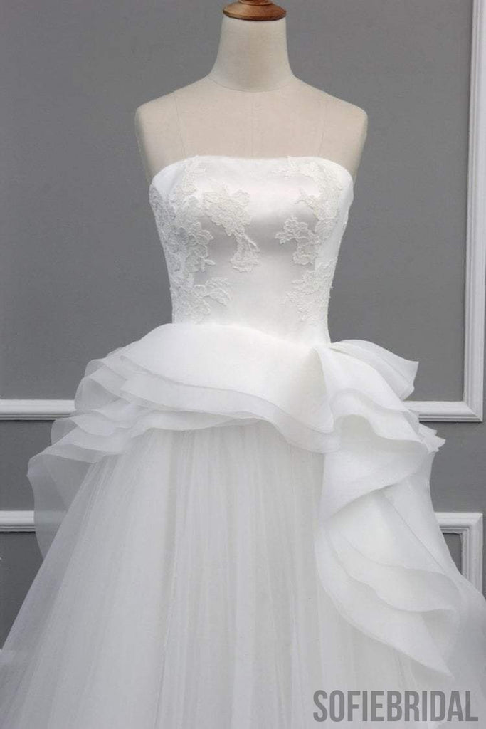 Straight Neckline Off White Lace Top A-line Tulle Gorgeous Lace Up Wedding Dresses, WD0232