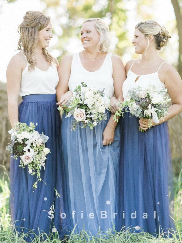 A-Line V-Neck Sleeveless Two Piece Tulle Bridesmaid Dresses,SFWG0001