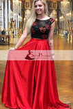 2 Pieces Black Top Open Back Prom Dresses, Red A-line Satin Prom Dresses, Prom Dresses, PD0458