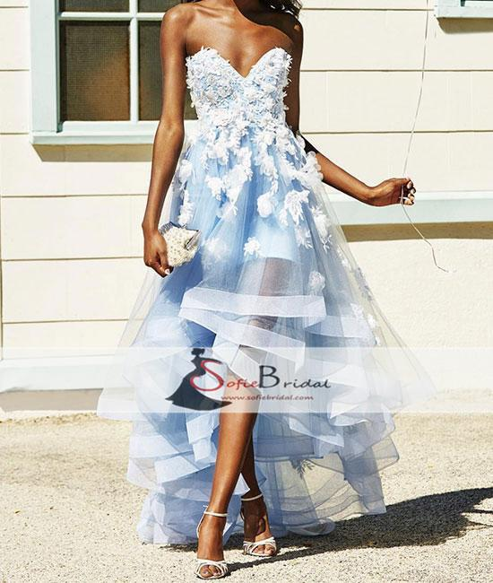 Sweetheart Light Blue Tulle Handmade Flower Hi-low Prom Dresses, Popular Prom Dresses, PD0454