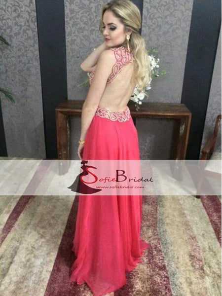 V-neck Read Beaded Open Back Prom Dresses, Sexy A-line Prom Dresses, Prom Dresses, PD0448
