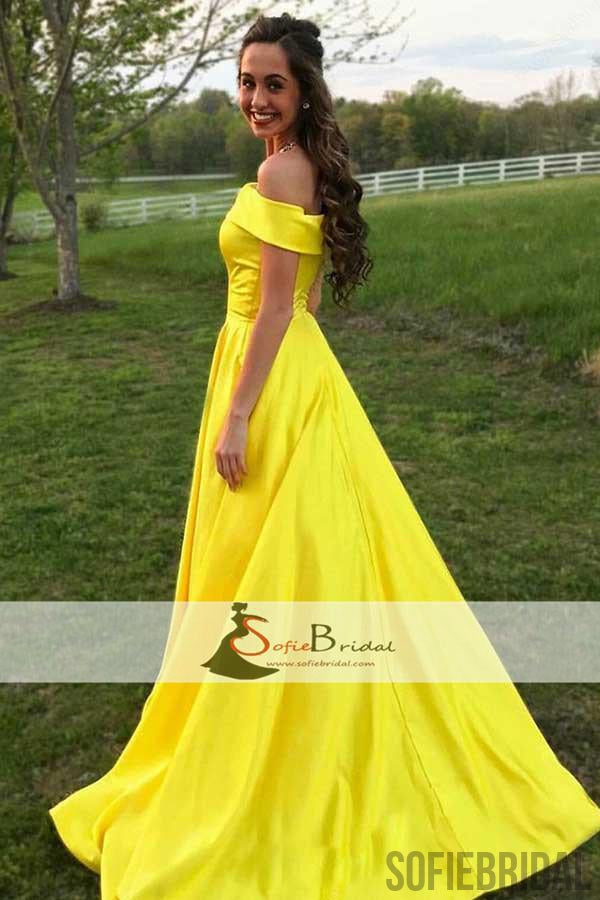 Off Shoulder Yellow Satin A-line Prom Dresses, Lovely Long Prom ...