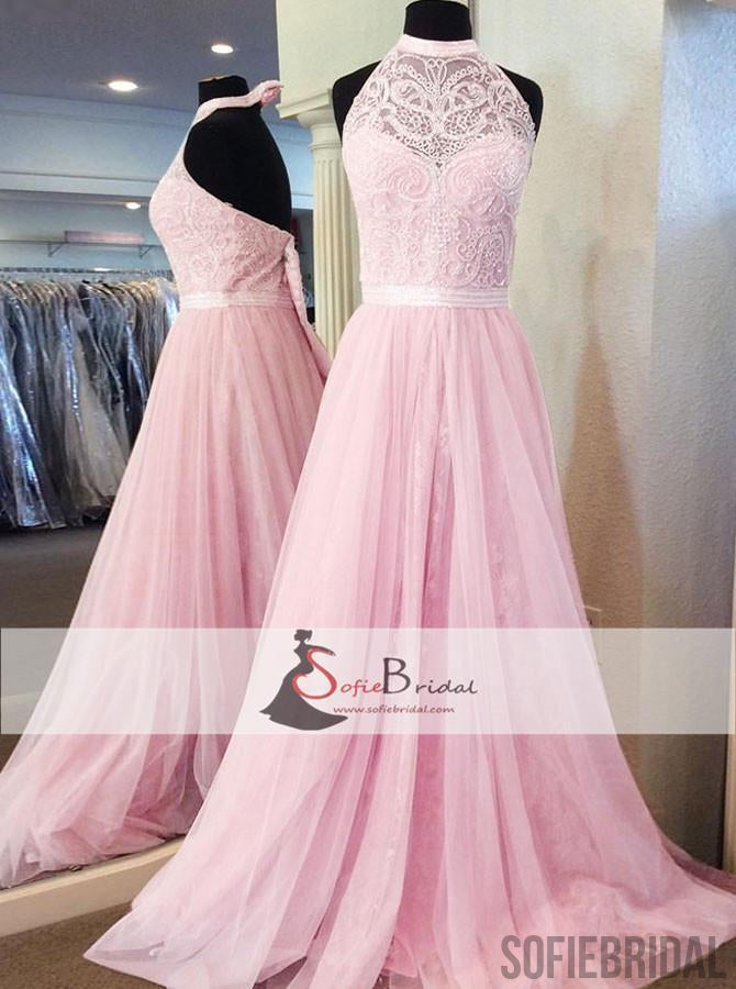 High Neck Halter Pink Lace Tulle Prom Dresses, Lovely Prom Dresses ...
