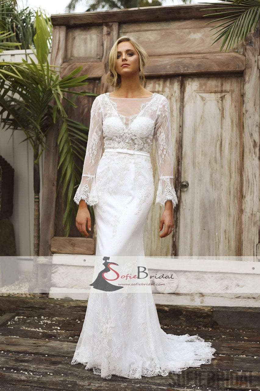 Long Sleeve See Through Lace Mermaid V-back Wedding Dresses ...
