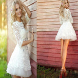 Pretty white lace long sleeve see through homecoming prom dresses, SF0016