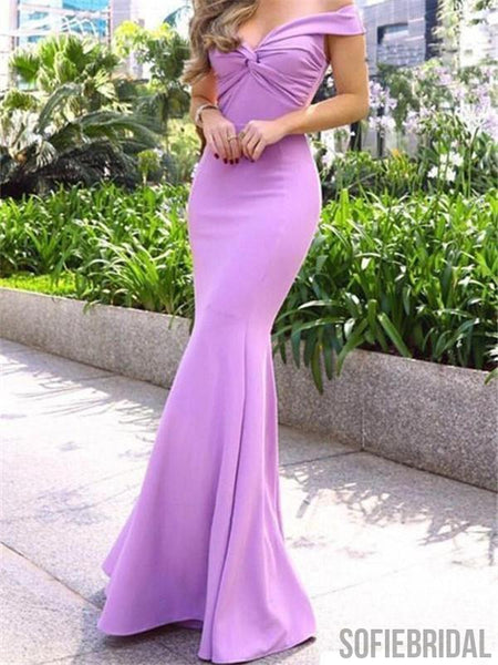 Simple Off-shoulder Mermaid Long Lilac Prom Dresses, PD0093