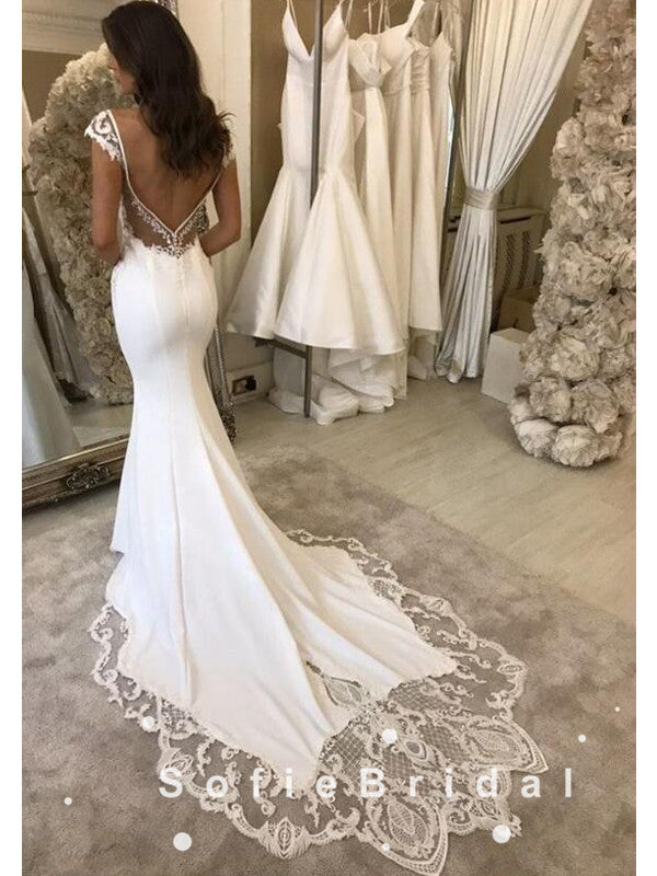 Mermaid Deep V-Neck Straps Cheap Long Wedding Dresses With Lace,SFWD0010