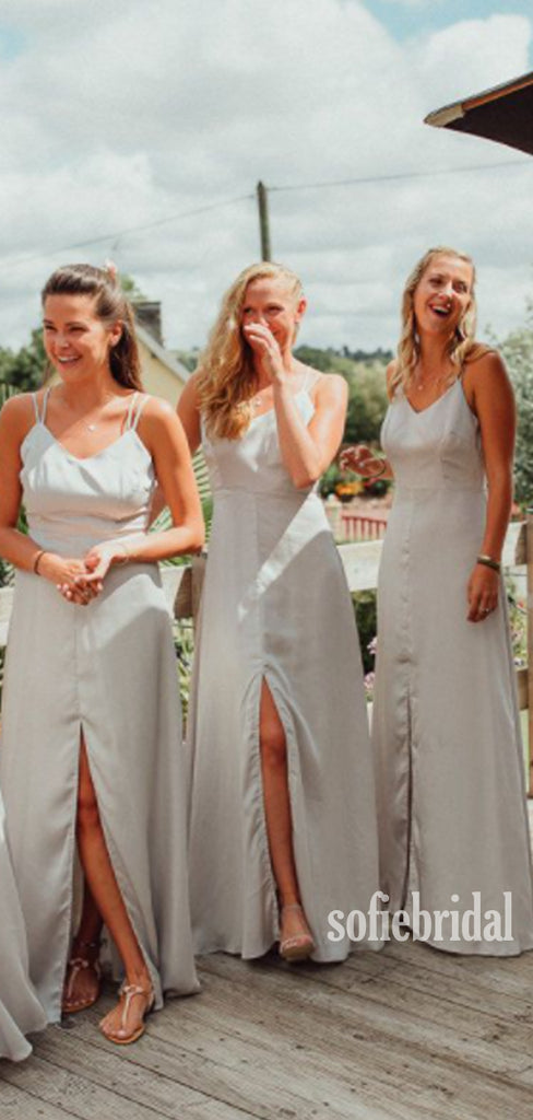 Simple Spahgetti Straps Side Slit Cheap Bridesmaid Dresses,SFWG0038