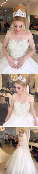 Popular Cheap Luxury Rhinestone Illusion Beaded Tulle Wedding Party Dresses, WD0010