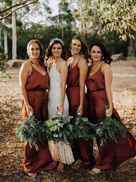 Simple V-Neck Brown Satin Long Simple Bridesmaid Dresses, BD1015