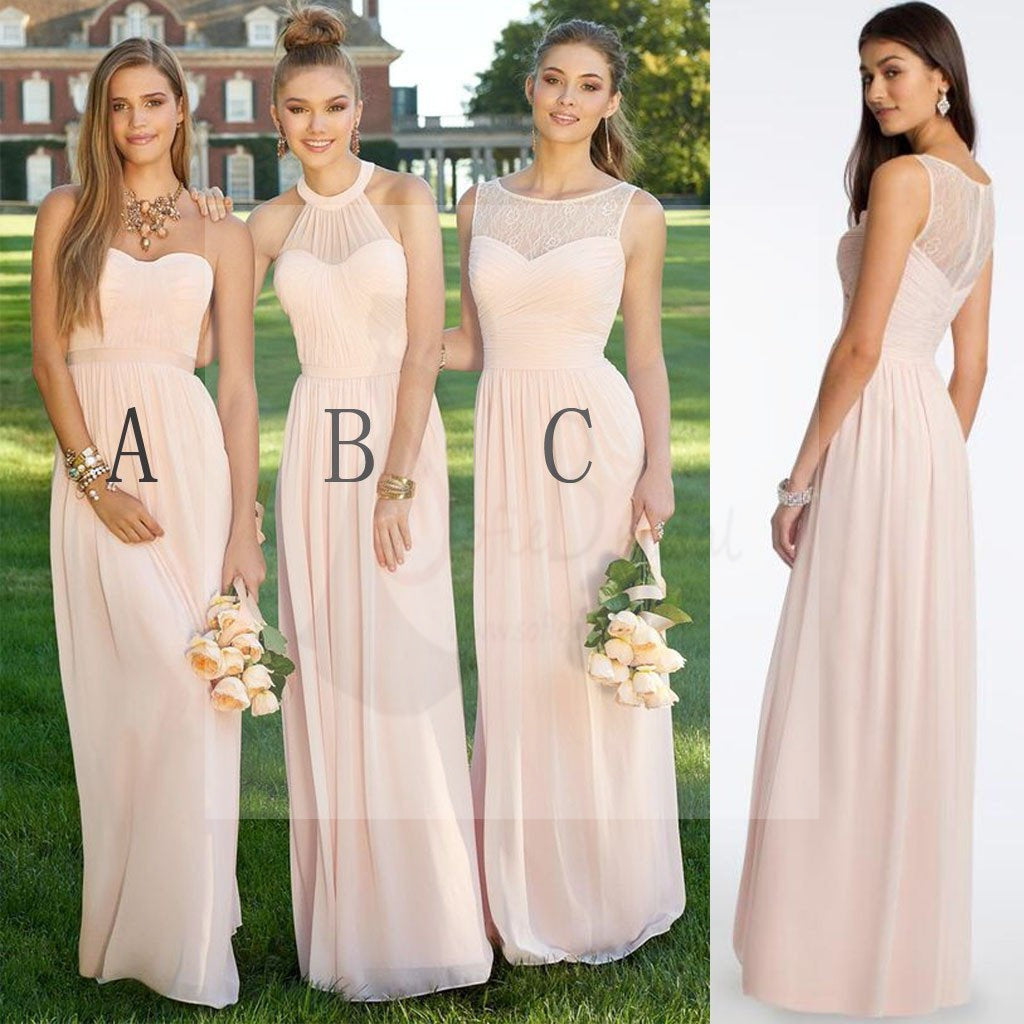Mismatched different styles chiffon blush pink modern formal floor mismatched different styles chiffon blush pink modern formal floor length cheap bridesmaid dresses wg103 ombrellifo Image collections