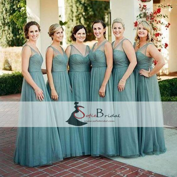 Sleeveless Beautiful Tulle A-line Zip Up Simple Design Elegant Bridesmaid Dresses, PD0373