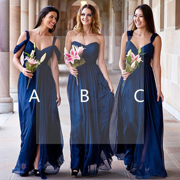 Mismatched Different Styles Chiffon Royal Blue Cheap Pleating Formal Long Wedding Party Bridesmaid Dresses, WG105