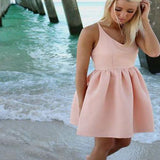 Simple Design Sleeveless Pink Jersey Homecoming Prom Dresses, SF0064