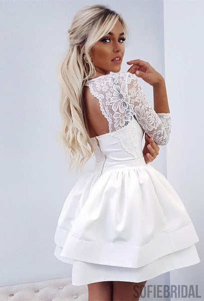 Amazing Lace Top 3/4 Sleeves Backless Short Homecoming Dress, HD0163