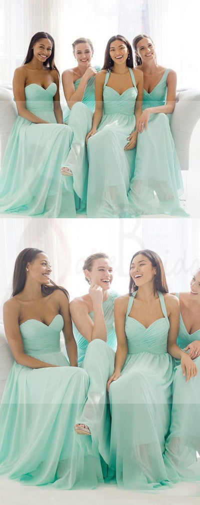 Mismatched Mint Chiffon Different Styles Junior Simple A Line Formal Floor-length Bridesmaid Dresses, WG109