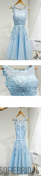 Light blue appliques lace see through lovely homecoming prom dresses, SF0083