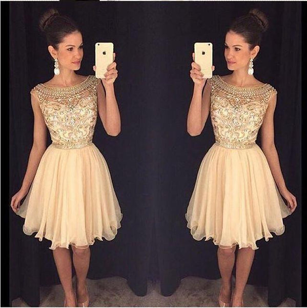 Sexy Beaded See Through Homecoming Dresses, Cocktail Dress, Custom Homecoming Dress