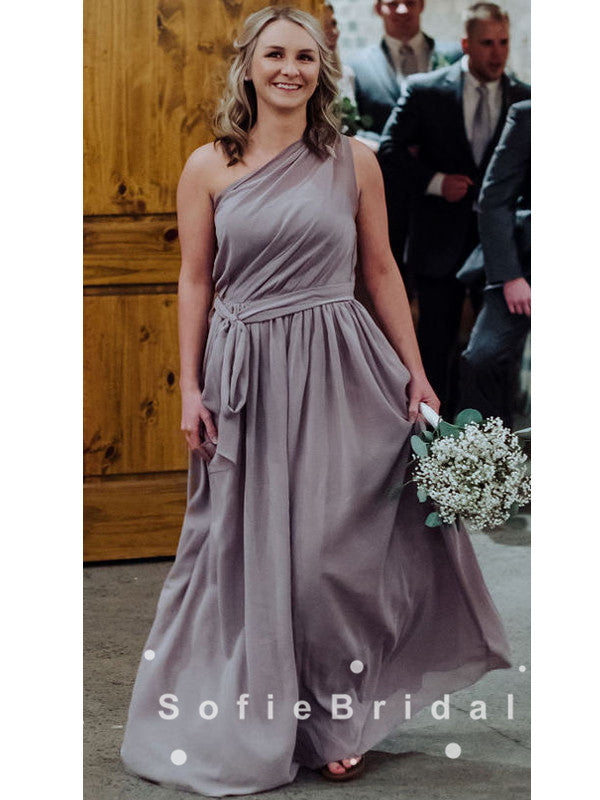 A-Line One Shoulder Chiffon Cheap Bridesmaid Dresses With Belt,SFWG0010