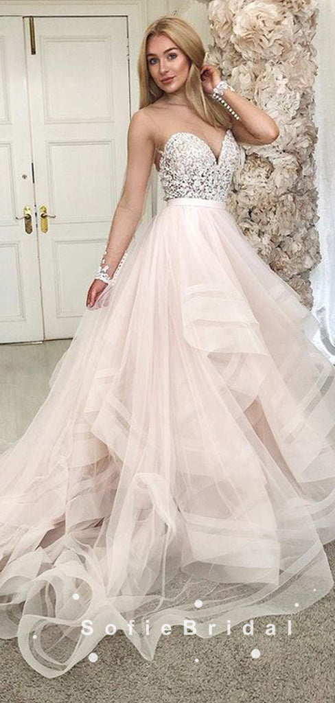 A-Line Sweetheart Tulle Long Wedding Dresses With Beading,SFWD0011