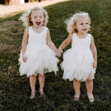 A-line Scoop Neck Sleeveless Lace Top Flower Girl Dresses, FG0100