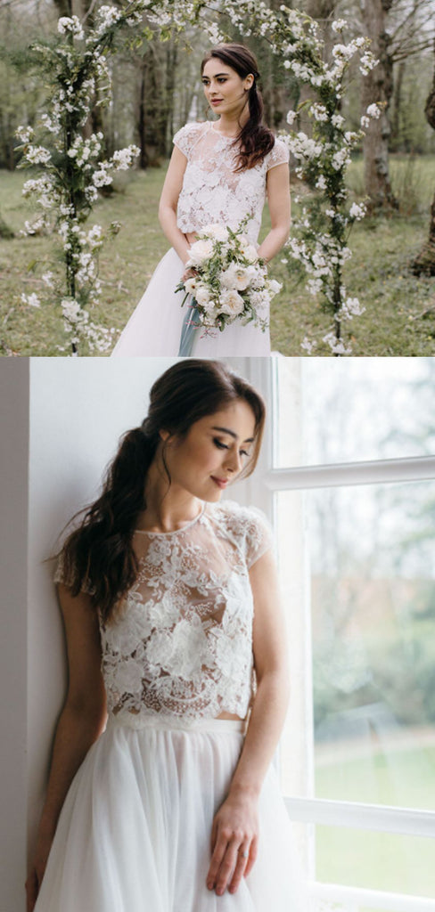 Simple Lace A-line Two-piece Long Wedding Dresses Online,SFWD0030
