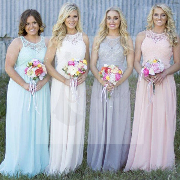 Off Shoulder Small Round Neck Top Lace Different Colors Chiffon Floor-Length Cheap Maxi Bridesmaid Dresses, WG110