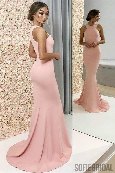 Mermaid Round Neck Long Simple Pink Bridesmaid Dresses, BD1020