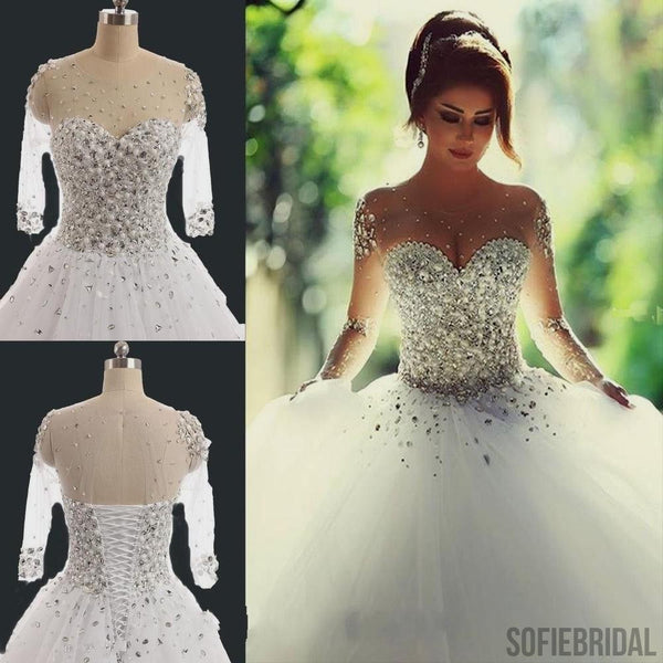 Gorgeous Illusion Long Sleeve Beaded Rhinestone Lace Up Ball Gown Wedding Dress, WD0200