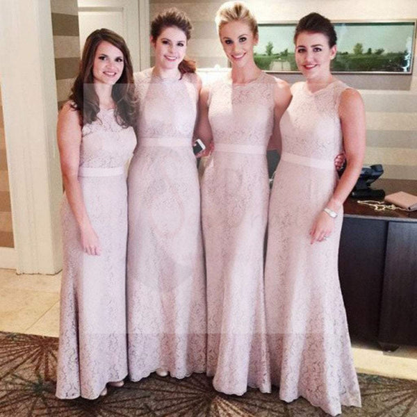 Women Modest Flesh Pink Small Round Neck Lace Mermaid Sexy Long Bridesmaid Dresses, WG112