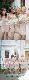 Fashion Cap Sleeve Open Back Small Round Neck Short Lace Blush Pink Mini Cheap Bridesmaid Dresses, WG116