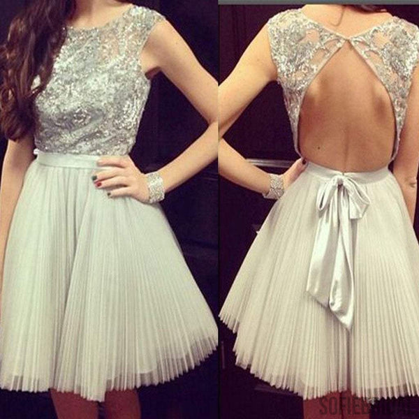 Grey sleeveless gorgeous open back casual charming homecoming prom dresses, SF0074