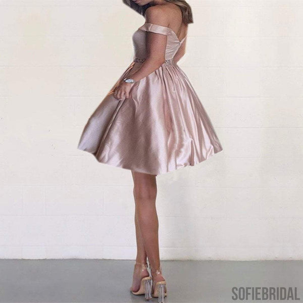 Off Shoulder Satin Homecoming Dresses, Beaded Short Prom Dresses, Homecoming Dresses, SF0099
