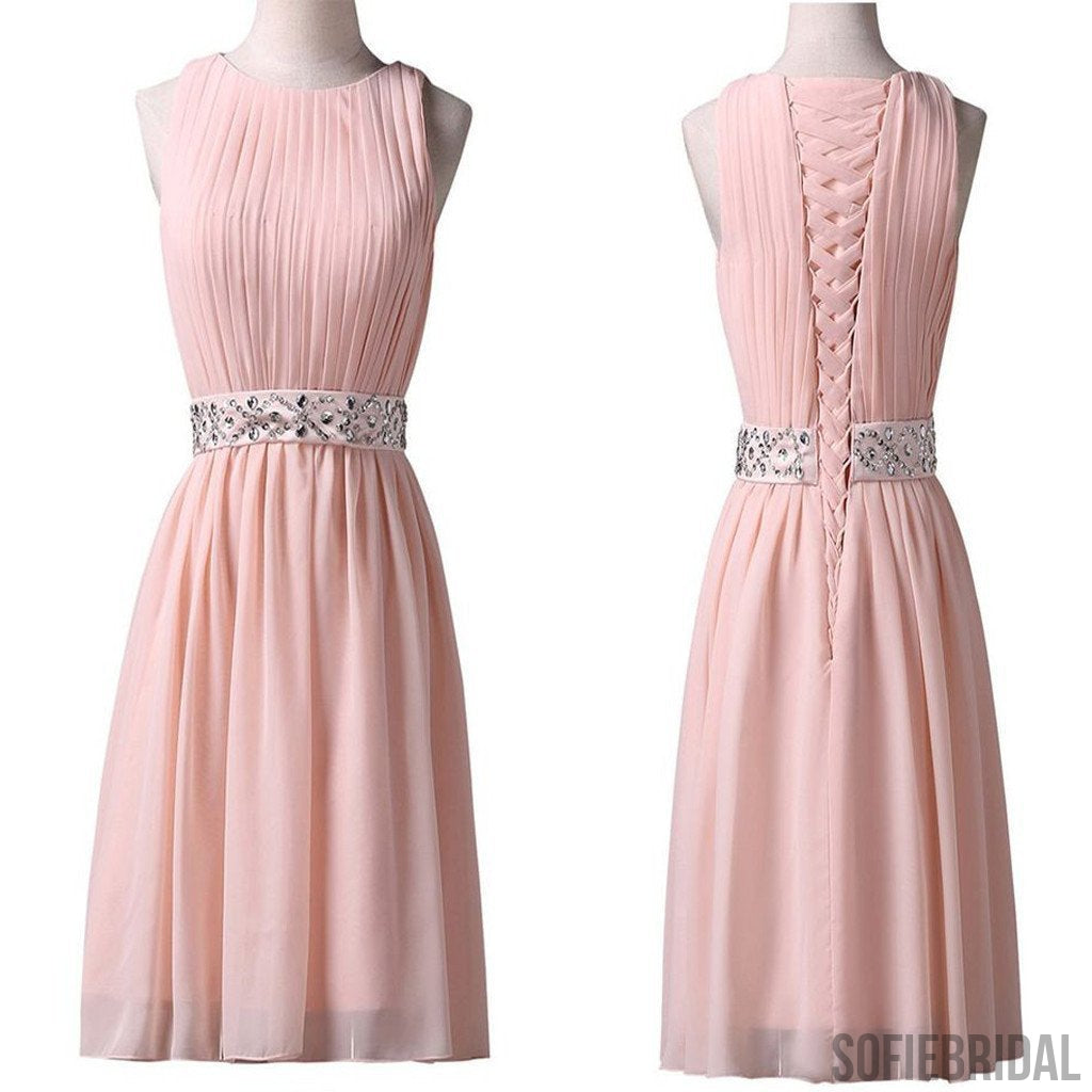 Light pink Jewel Sleeveless chiffon lace up back homecoming dresses, SF0084