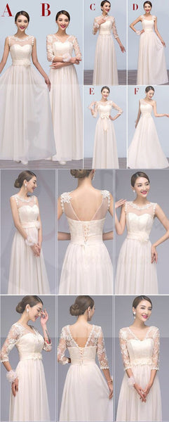 Mismatched Chiffon Long Lace Cheap Floor-Length Bridesmaid Dresses,Cheap Popular Bridesmaid Dress