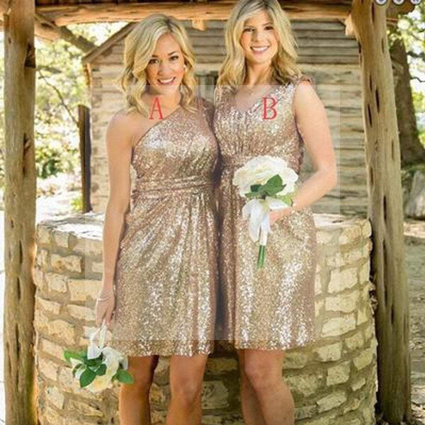 Mismatched Gold Sequin One Shoulder Shinning V-Neck Knee-Length Cheap Bridesmaid Dresses, WG122