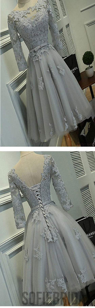 Grey lace simple lovely half sleeve elegant homecoming prom gown dresses, SF0076