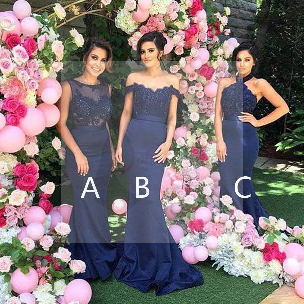 27a2b2e2a37 Mismatched Sexy Different Styles Mermaid Royal Blue Long Affordable Wedding  Bridesmaid Dresses