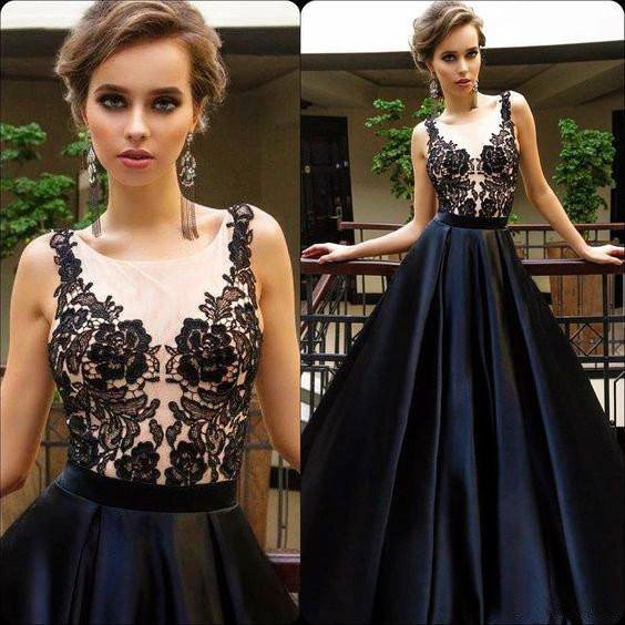 2017 Black Appliques Sexy See Through Long A-line Cheap Prom Dresses, PD0252