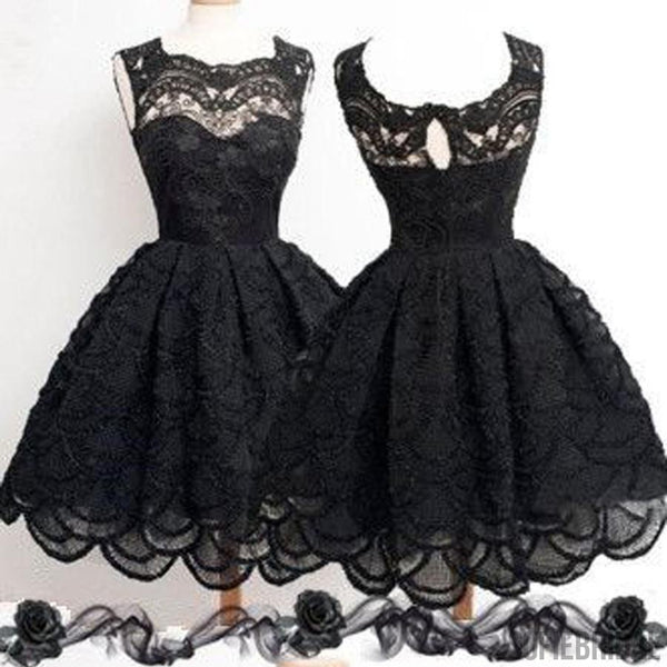2016 Black lace simple modest vintage freshman homecoming prom dresses, SF0001