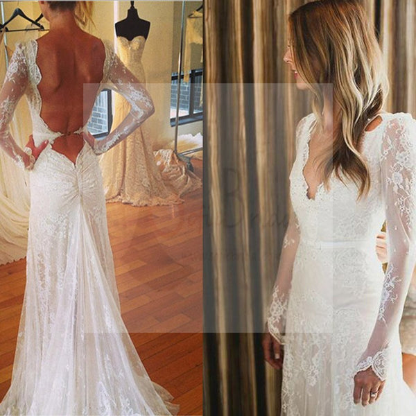 Sexy V-neck Open Back Mermaid Long Sleeve White Lace Tulle Wedding Party Dresses, WD0012
