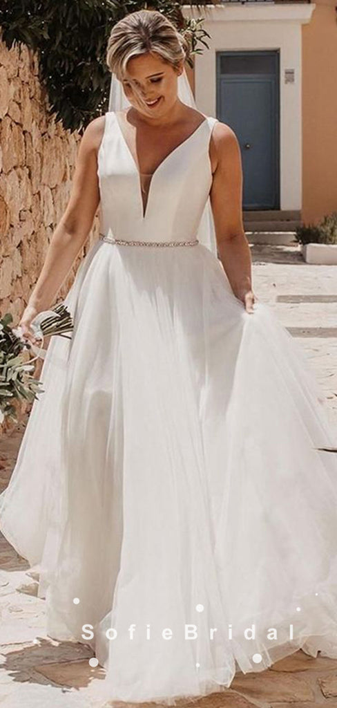 Simple A-Line V-Neck Sleeveless Tulle Wedding Dresses With Beading,SFWD0013