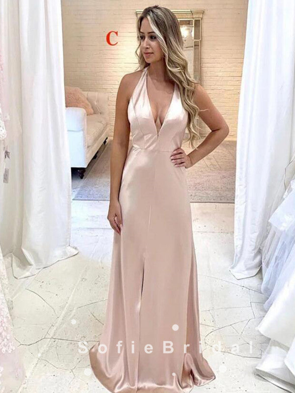 Simple Sheath V-Neck Spaghetti Straps Side Slit Long Bridesmaid Dresses,SFWG0013
