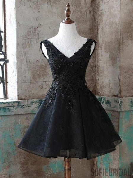 A-line Sleeveless V-neck Appliaues Black Homecoming Dresses, HD0100