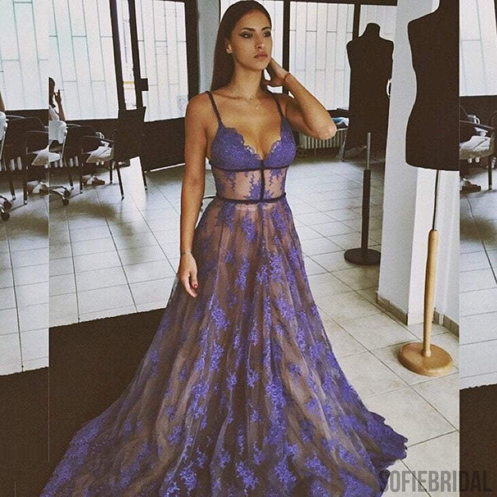 Spaghetti Purple Lace Long A-line Prom Dresses, Gorgeous Affordable Dresses for Prom, Evening Dresses, PD0315