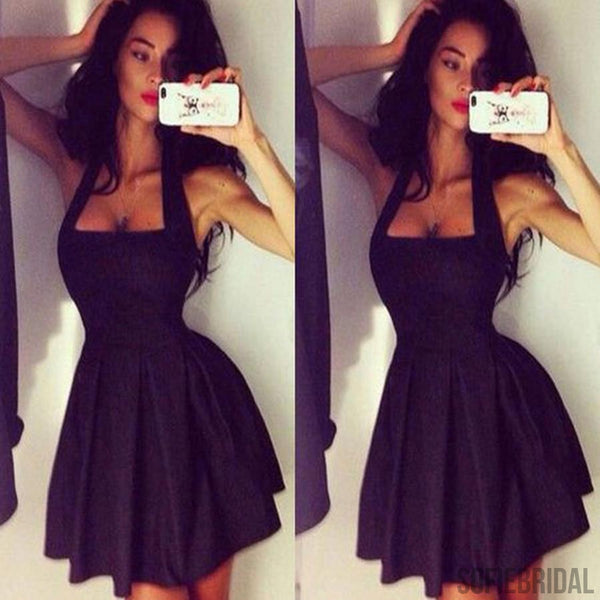 856f346775f0 Black halter simple sexy style homecoming prom dresses