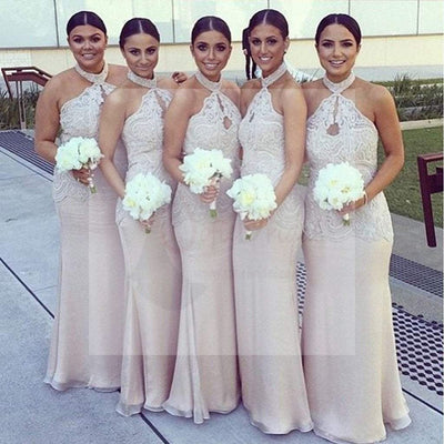 Halter Lace Top Sexy Mermaid Long Elegant Cheap Floor Length Wedding Bridesmaid Dresses, WG138