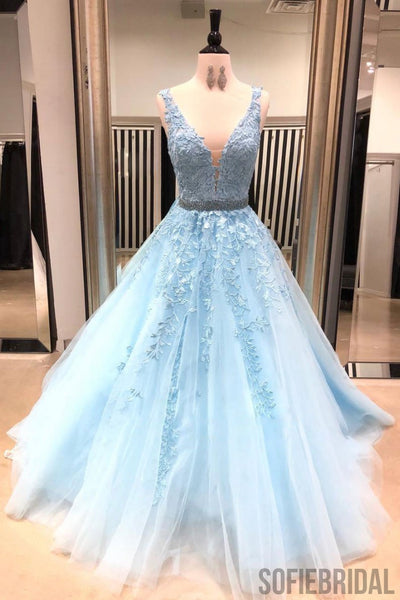 A-line V-neck Blue Appliques Long Tulle Prom Dresses, PD0987