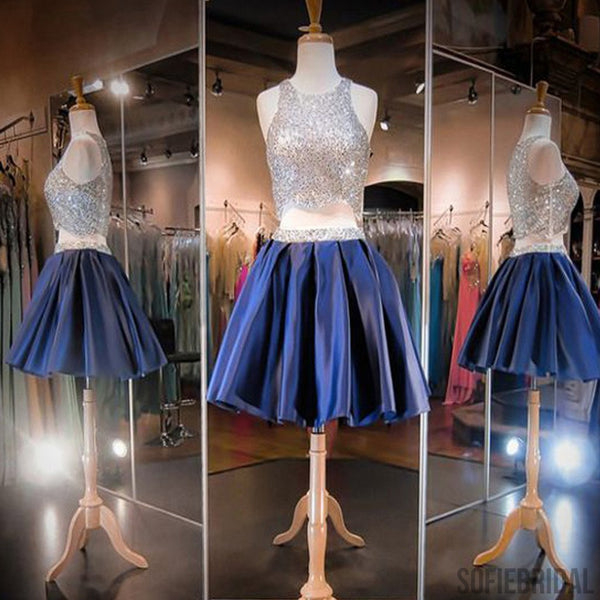 Popular Two Pieces Navy Blue Satin Beaded Homecoming Prom Dresses, SF0048